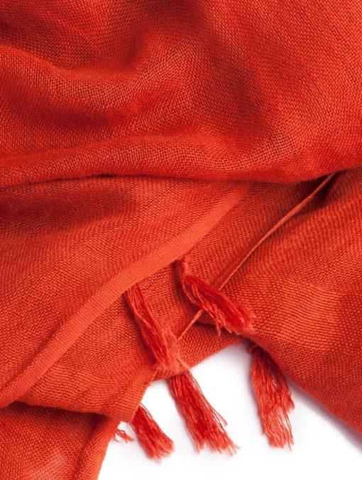 Handloom Linen Scarf in Madder Red Indigenous