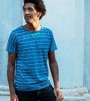 Striped Batik Tee Medium Indigo for Men
