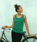 Striped Batik Tank Marine Green for Women
