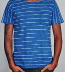 Striped Batik Tee Medium Indigo for Men Front